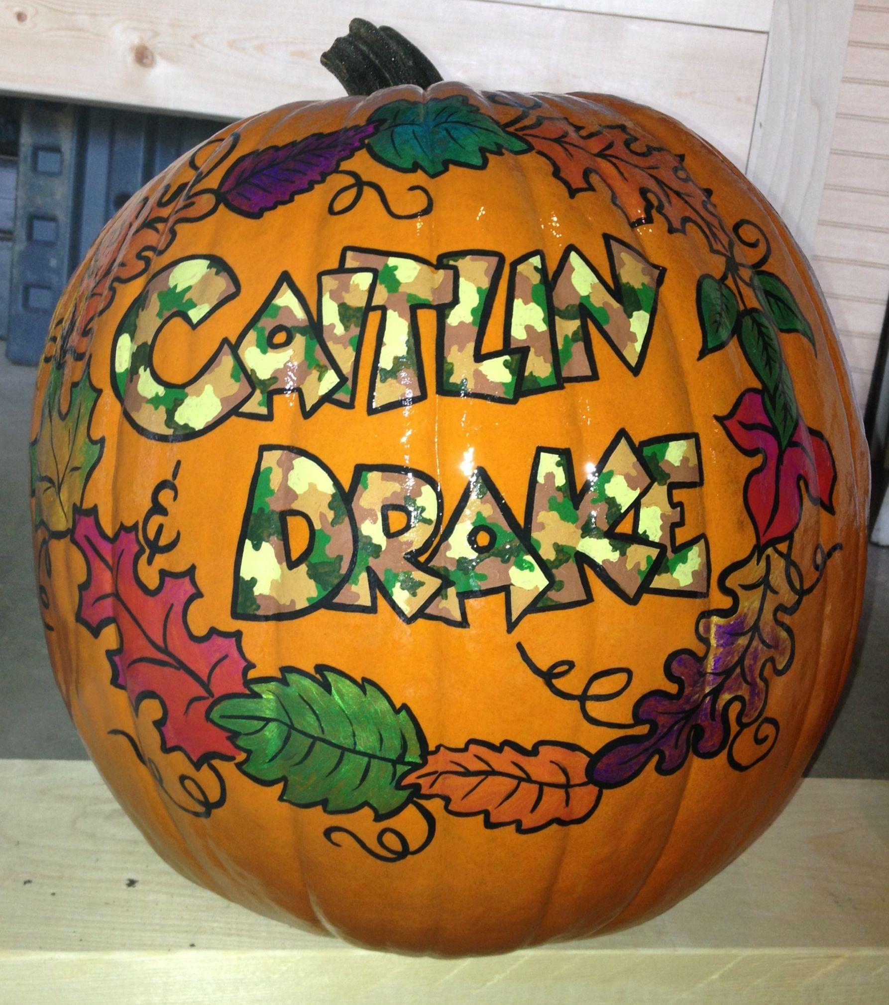 Camo Names W Fall Leaves Pumpkin