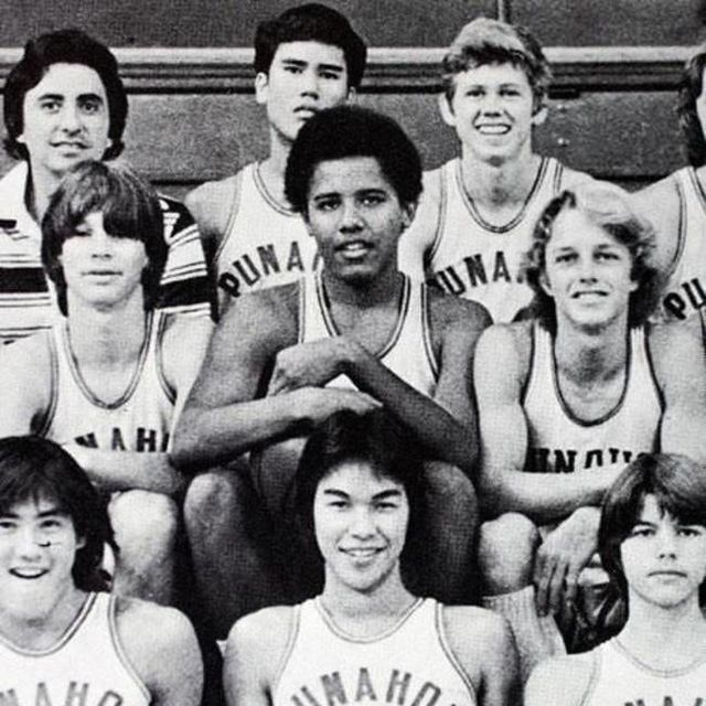 President Barack Obama on his high school basketball team.