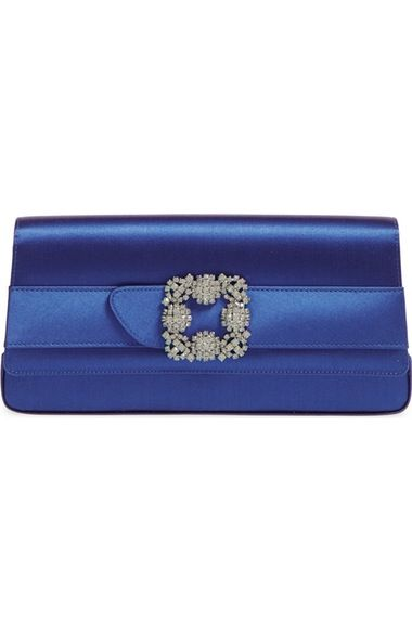 MANOLO BLAHNIK 'Gothisi' Clutch. #manoloblahnik #bags #clutch #metallic #crystal #lining #hand bags #rayon #silk #