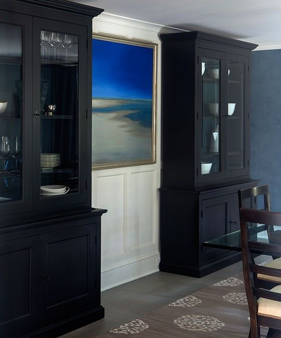 Dining Room Cabinet Ideas: Chic Dining Room Features Tall Black China Cabinets
