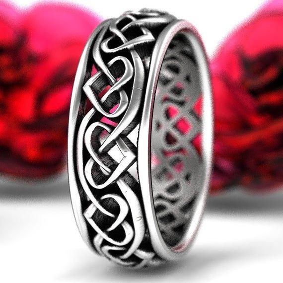 Photo of Keltischer Herz-Ehering, Sterling Silber Keltischer Ring, Keltischer Schmuck Mütter Herzring, Keltischer Liebesknotenring, Unendlicher Herzring 1245