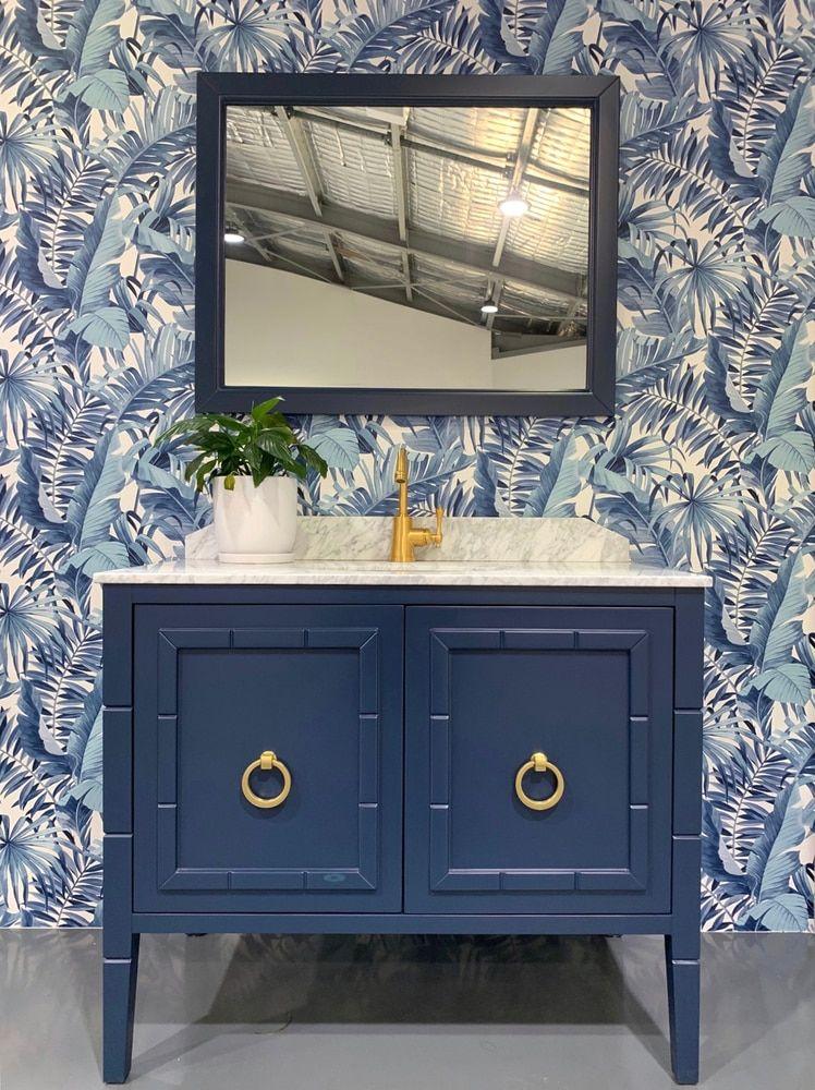 Alfresco palm leaf navy in 2020 Bathroom color schemes