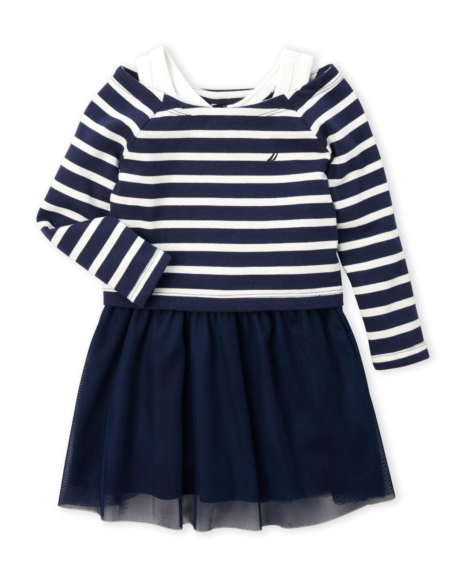 Nautica (Toddler Girls) Two-Piece Stripe Raglan Pullover & Tank Dress Set