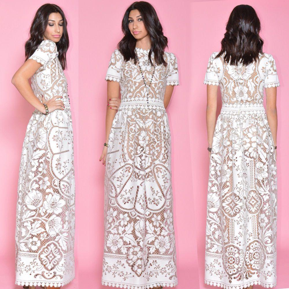 VTG 70s Sheer Crochet Scallop Lace Runway Wedding Boho Maxi Dress ...