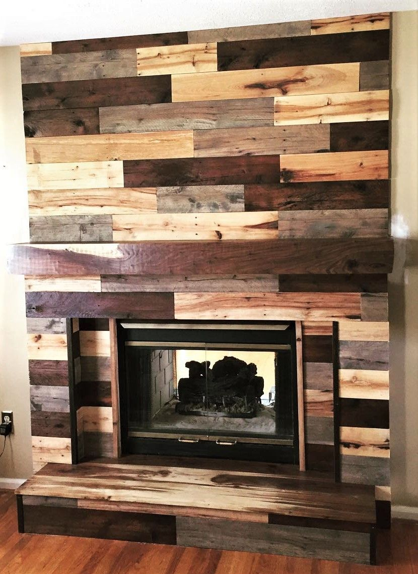 Recycled Pallets recycled pallets fireplace wall art - It ...
