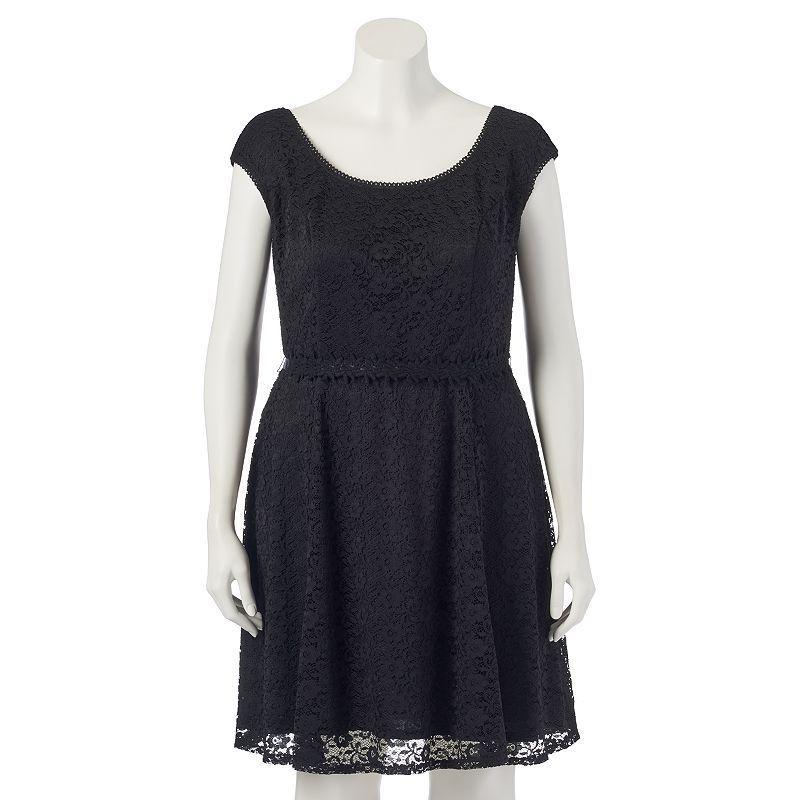 Juniors Plus Size Wrapper Boatneck Lace Skater Dress Teens Size