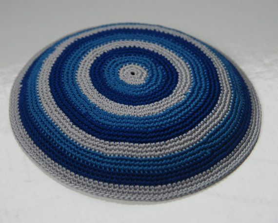 Stripes - Crochet Yarmulke (Kippah) Hand made by Shoshi\'s Studio ...