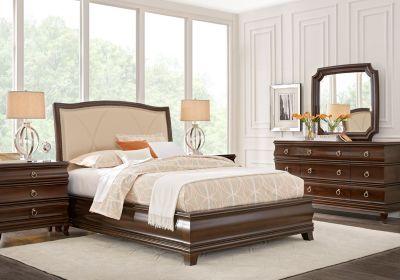 Alexi Cherry 7 Pc Queen Panel Bedroom With Cream Inset Bedroom