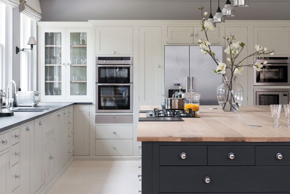 White And Charcoal Painted Inset Shaker Kitchen Cabinetry With Wood Top  Island Is Classically Elegant.