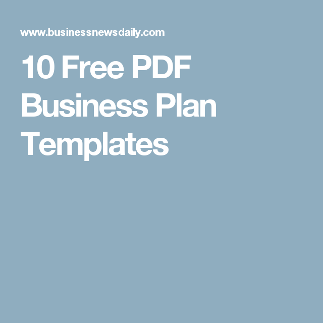 10 Free PDF Business Plan Templates