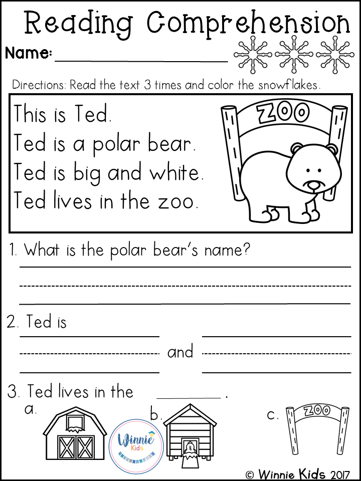 Kindergarten Reading Prehension Passages Winter