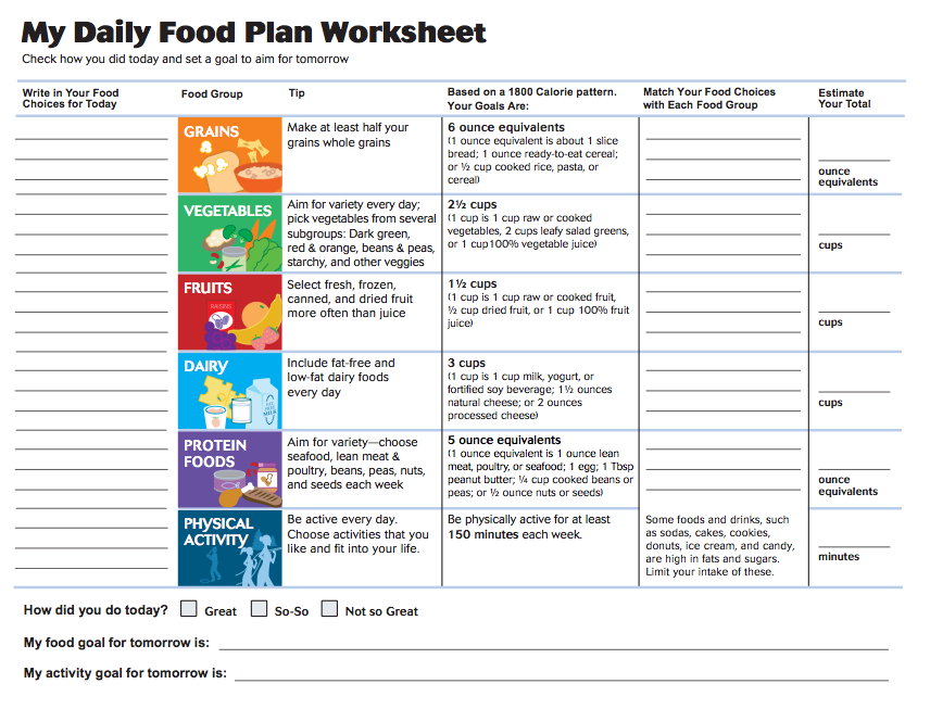 My Daily Food Plan Worksheet | Eat and Drink Water! | Nutrition ...