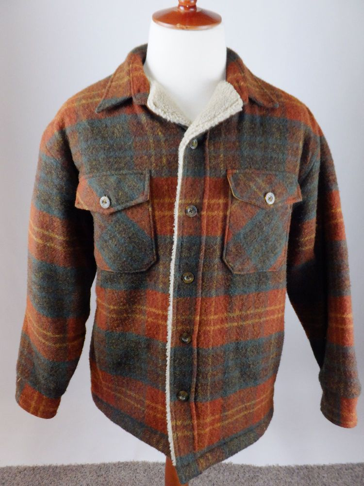 96d105f2d3f0d Woolrich Vintage Wool Plaid Burnt Orange Teal Button Coat Jacket Men Medium   Woolrich  FleeceJacket