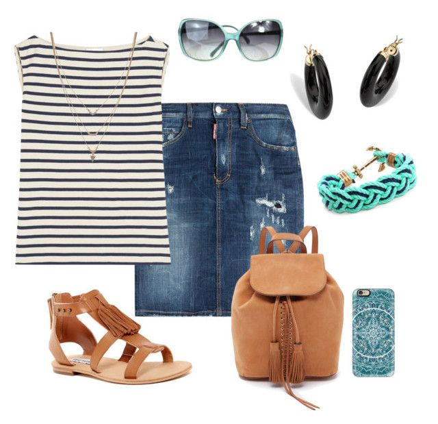 Denim skirt by alliedrover on Polyvore featuring polyvore, fashion, style, Yves Saint Laurent, Dsquared2, Steve Madden, Rebecca Minkoff, Palm Beach Jewelry, Kiel James Patrick, Jessica Simpson, Chanel, Casetify and clothing