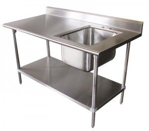 Delicieux Sink On Right 16 Gauge Advance Tabco Stainless Steel Work Table With Sink X