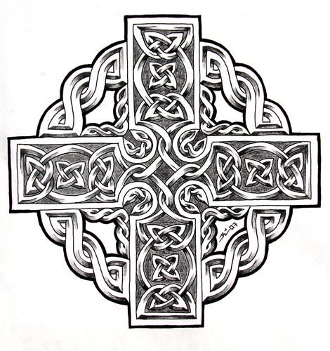 Cross Tattoo Line Drawing : Celtic cross tattoo flash line drawing