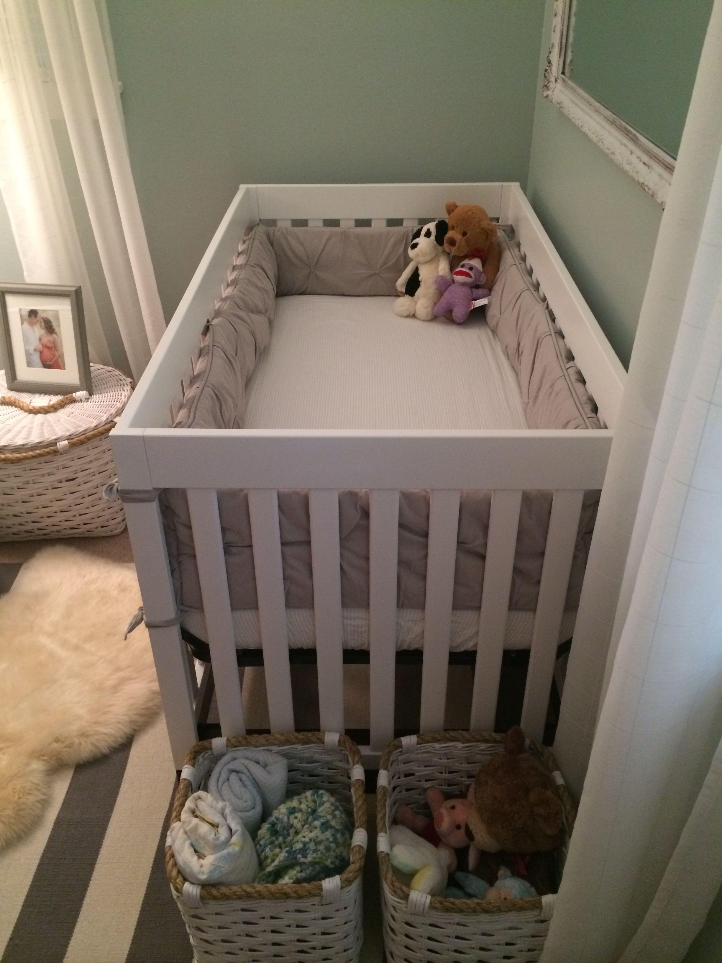 Gender neutral nursery with a hint of baby boy Wall color BM