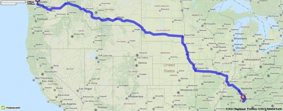Driving Directions From Scottsboro Alabama To Seattle Washington