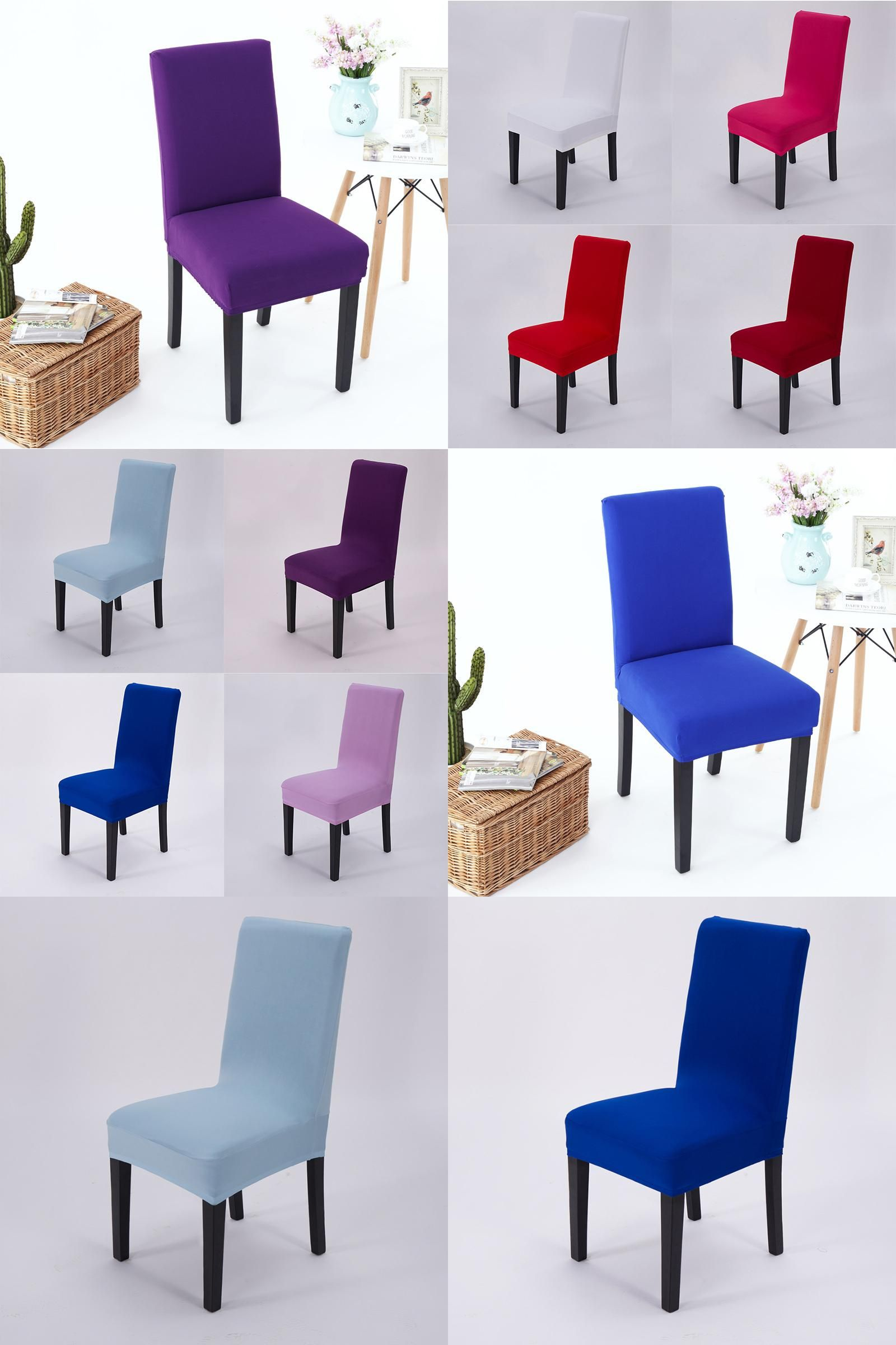 Visit to Buy Solid Colors Elastic Cloth Chair Covers China For