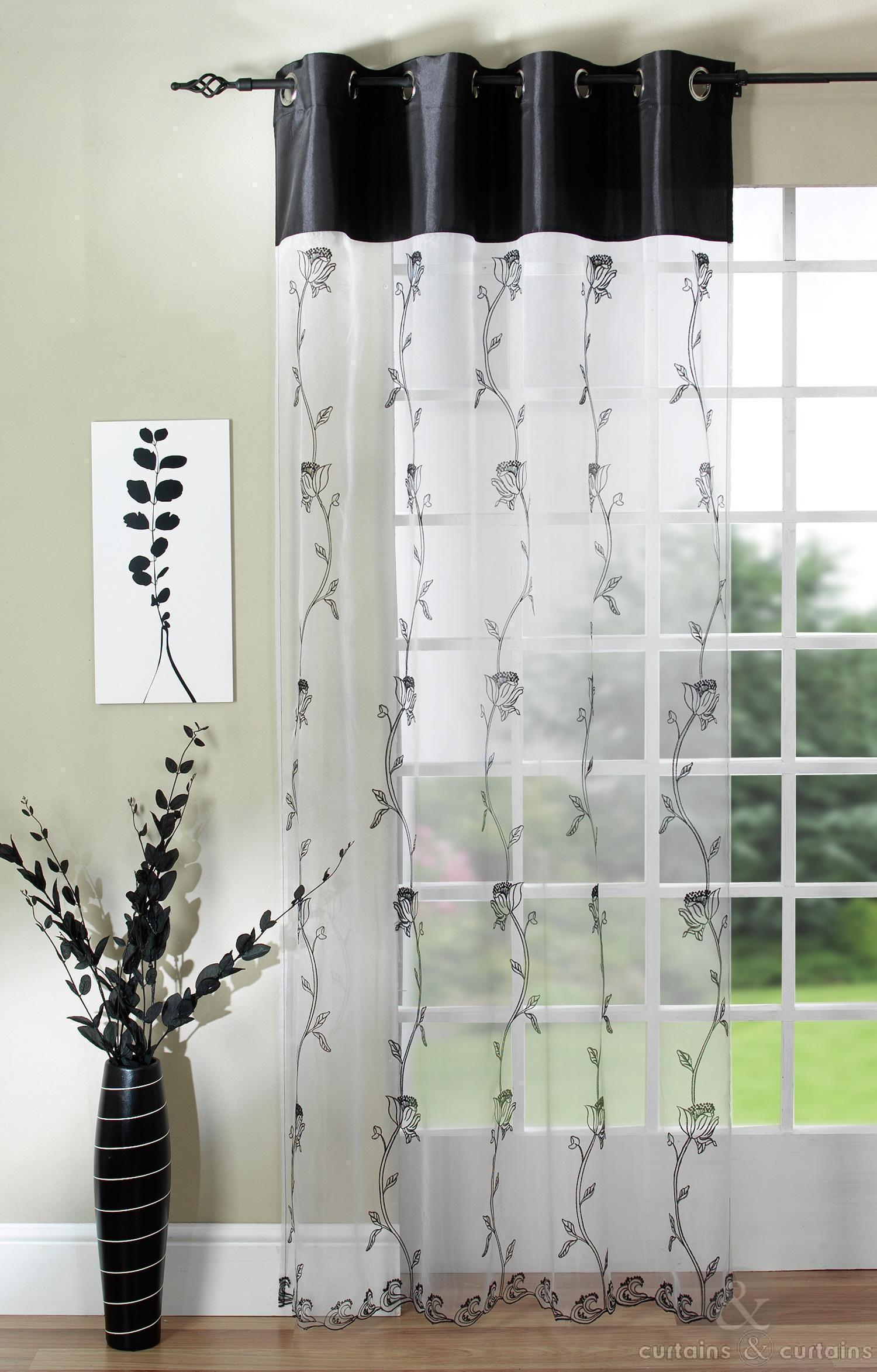 Tahiti Black White Voile Ring Top Curtain