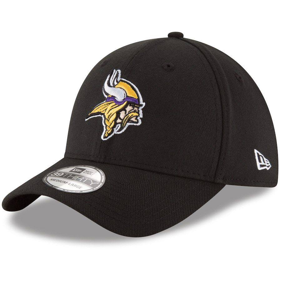 Men s Minnesota Vikings New Era Team Classic 39THIRTY Flex Black Hat ... 3fbb3c745