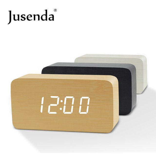 Cube Wooden Clock Voice Control Digital Alarm Clock Radio Led