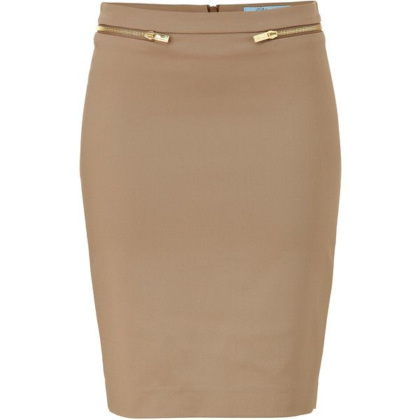 BLUMARINE Beige Pencil Skirt ❤ liked on Polyvore