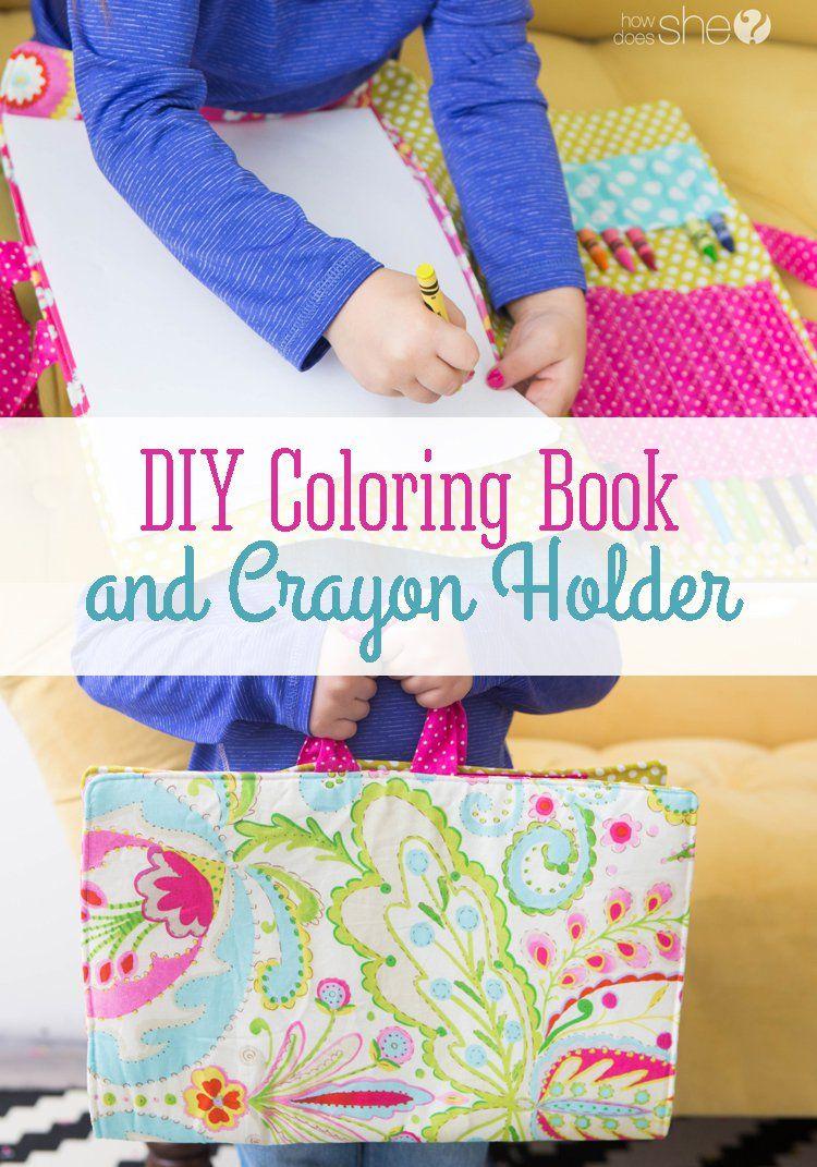 Diy Coloring Book And Crayon Holder Diy Coloring Books Crayon Holder Coloring Books