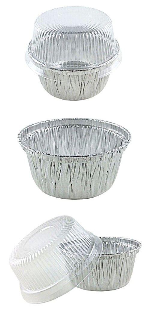 4 Oz Aluminum Foil Cup W Clear Plastic High Dome Lid 50pk