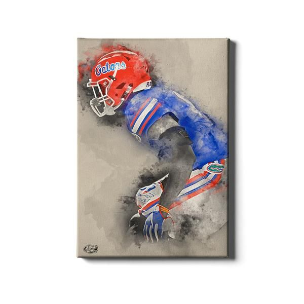 Florida Gators Gator Defend Watercolor Wood Art Design Gallery Wrap Canvas College Wall Art