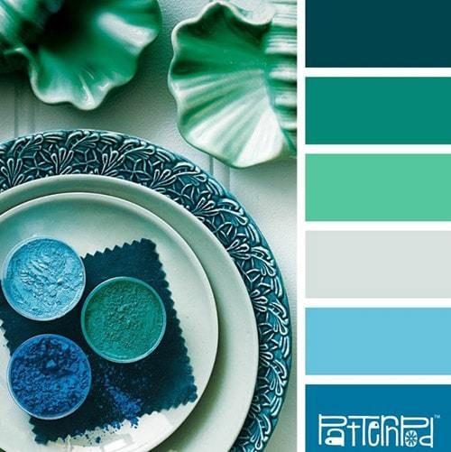 зеленый цвет в интерьере фото в 2020 г | Синие цветовые ...