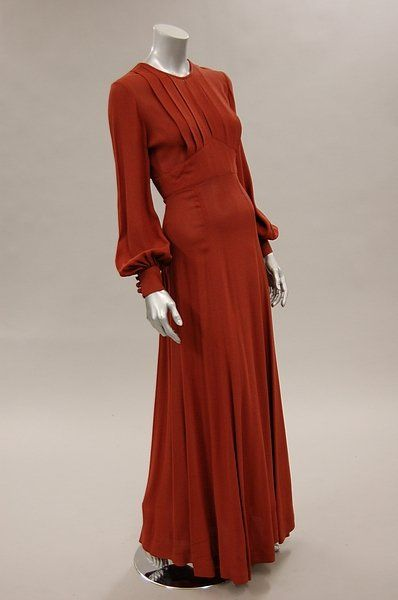 Ossie Clark For Radley Cinnammon Brown Moss Crepe Evening Dress Mid 1970s