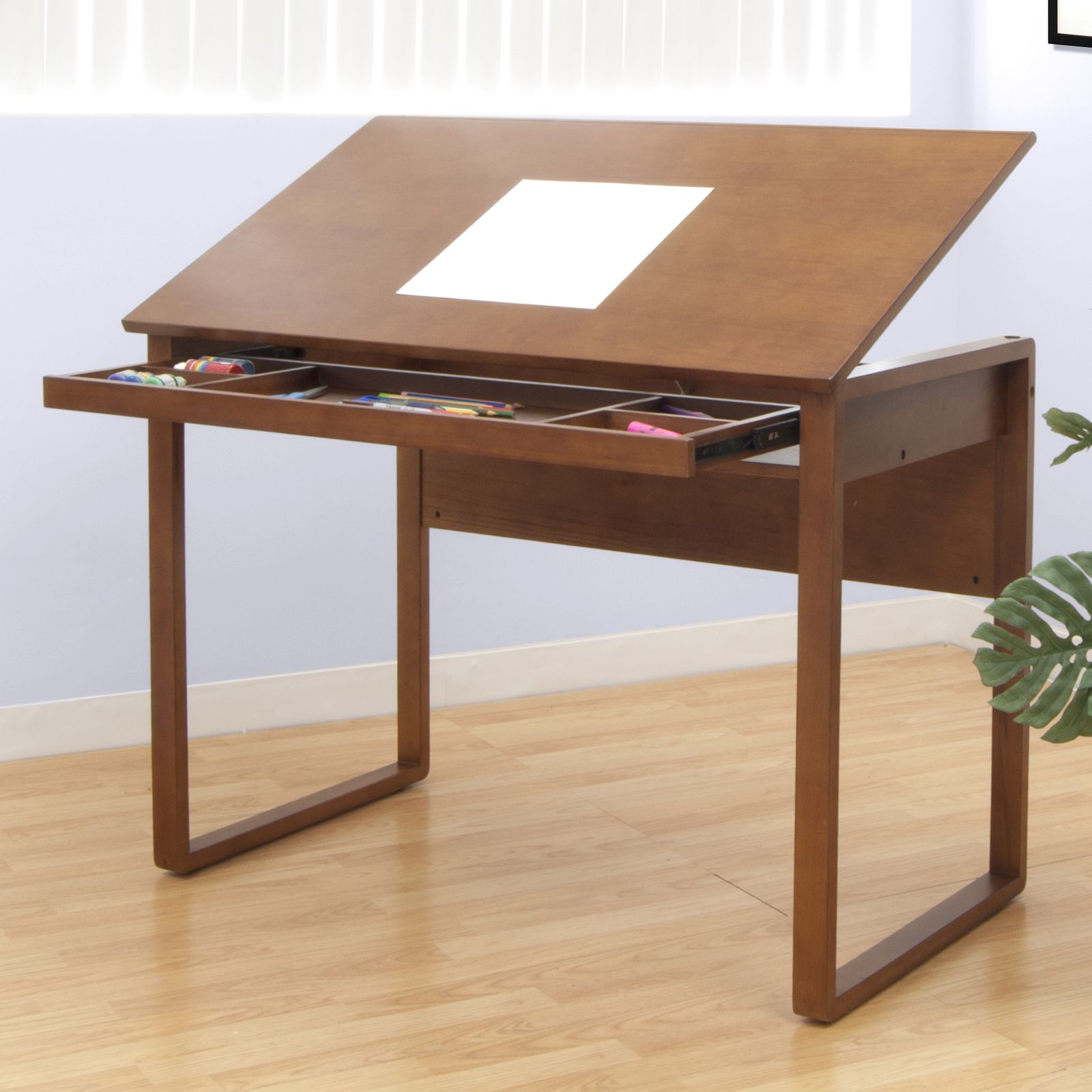 Drawing Lines In A Table : Ponderosa wooden drafting table by studio designs warm