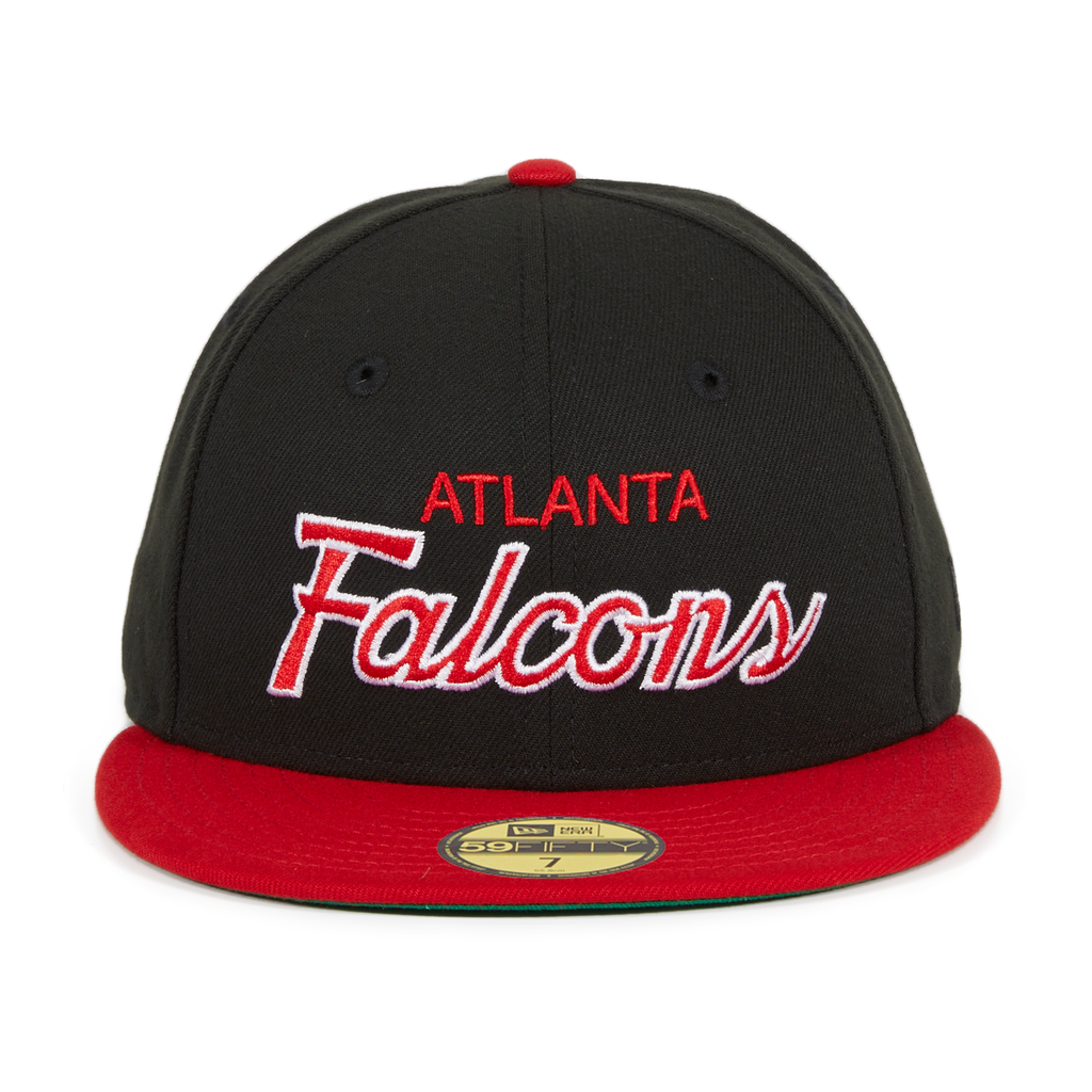 Exclusive New Era 59fifty Atlanta Falcons Script Hat 2t Black Red In 2020 Atlanta Falcons Cap New Era 59fifty Atlanta Falcons