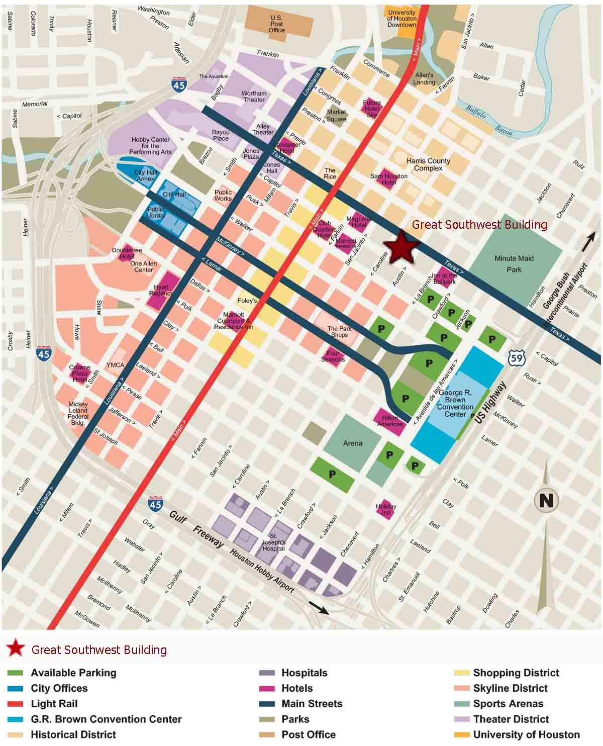 Downtown Houston Map   Houston Texas • mappery | Tx/Texans