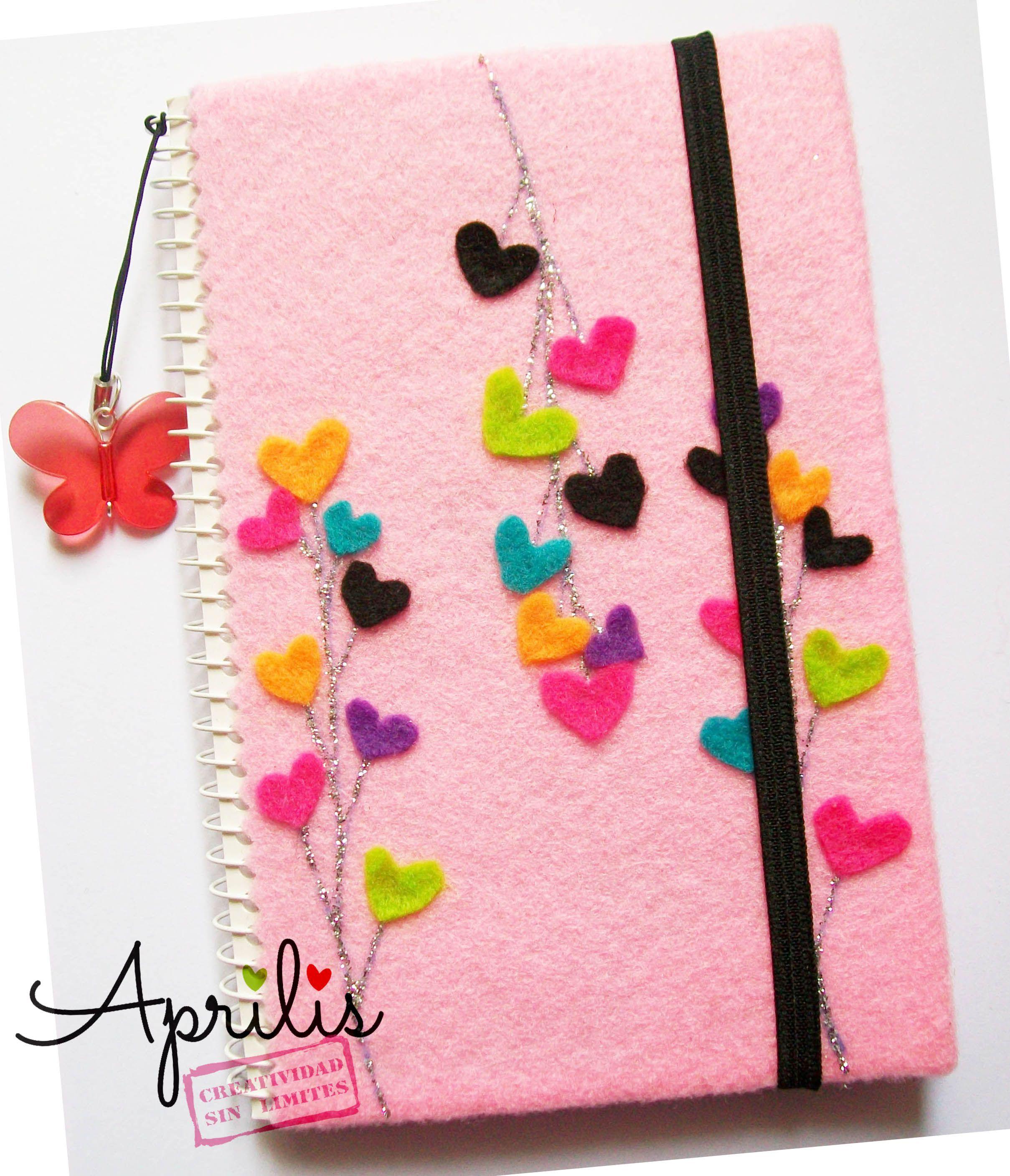 Libreta rosada con corazones de fieltro manualidades - Manualidades de decoracion ...