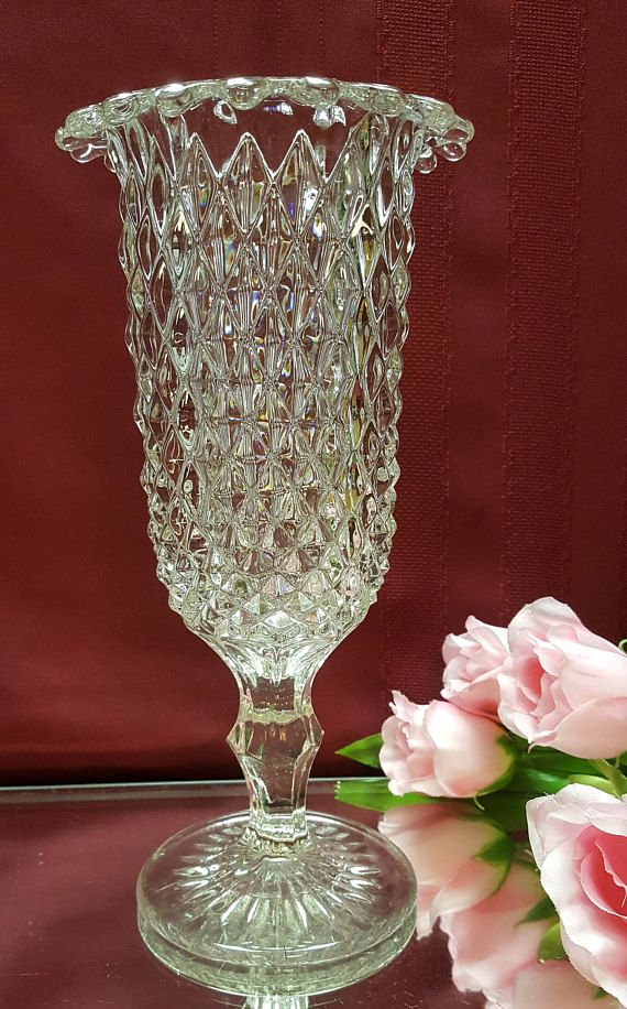 Antique Eapg 1880s Victorian Celery Vase New England Glass Rolled