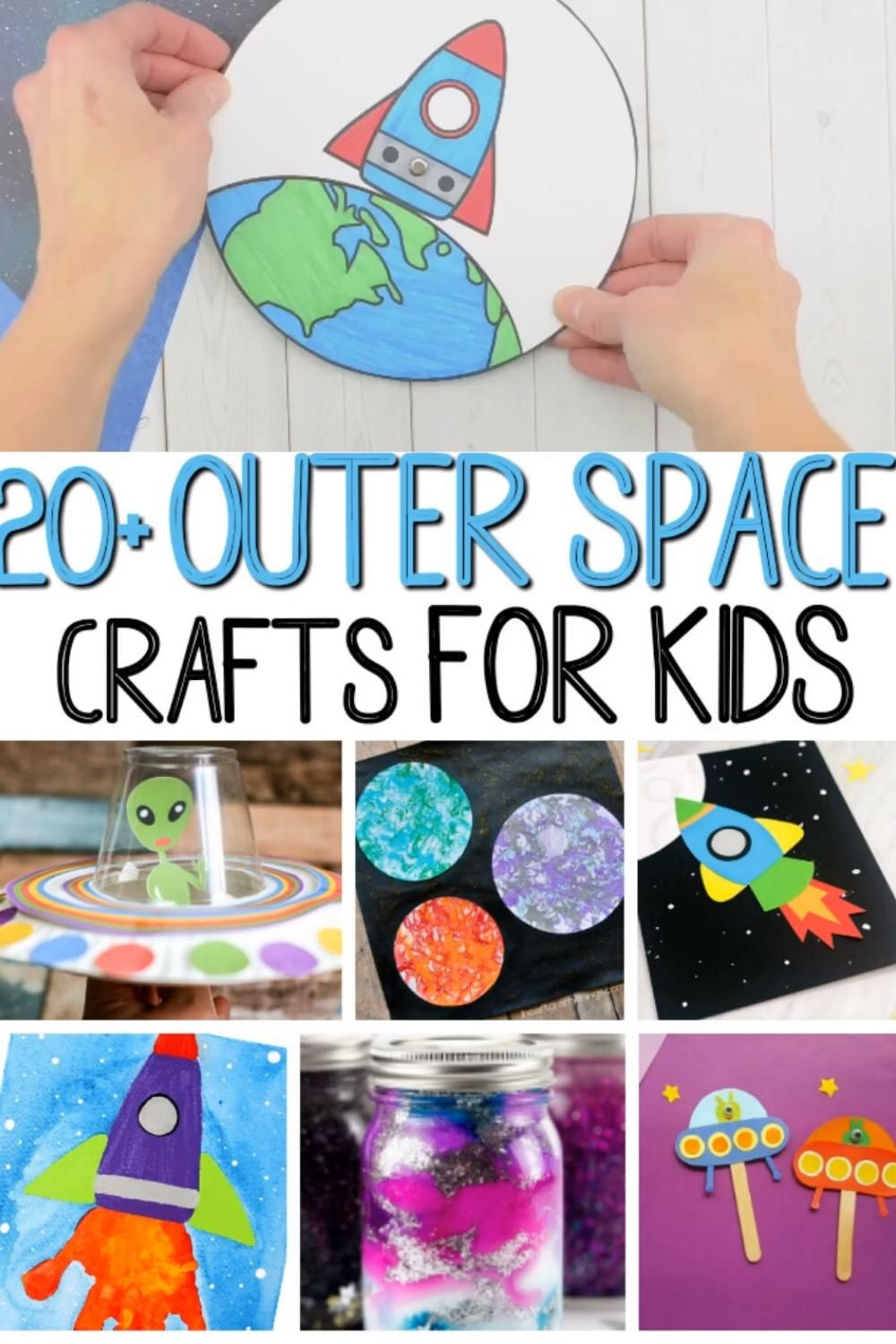 Do you have a little astronaut who loves all things space? Then do I have a fun round up of amazing space crafts for you! This is a fantastic  round up of 20+ Outer Space Crafts For Kids that are out of this world!  #craftsforkids #spacecraftsforkids #outerspacecraftsforkids