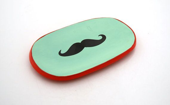 Seafoam green and red mustache Change Dish Soap Dish Eyeglass Holder or Jewelry Holder $10