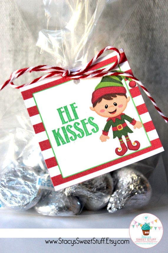 Elf Kisses Tag DIY Printable Instant Download by StacysSweetStuff