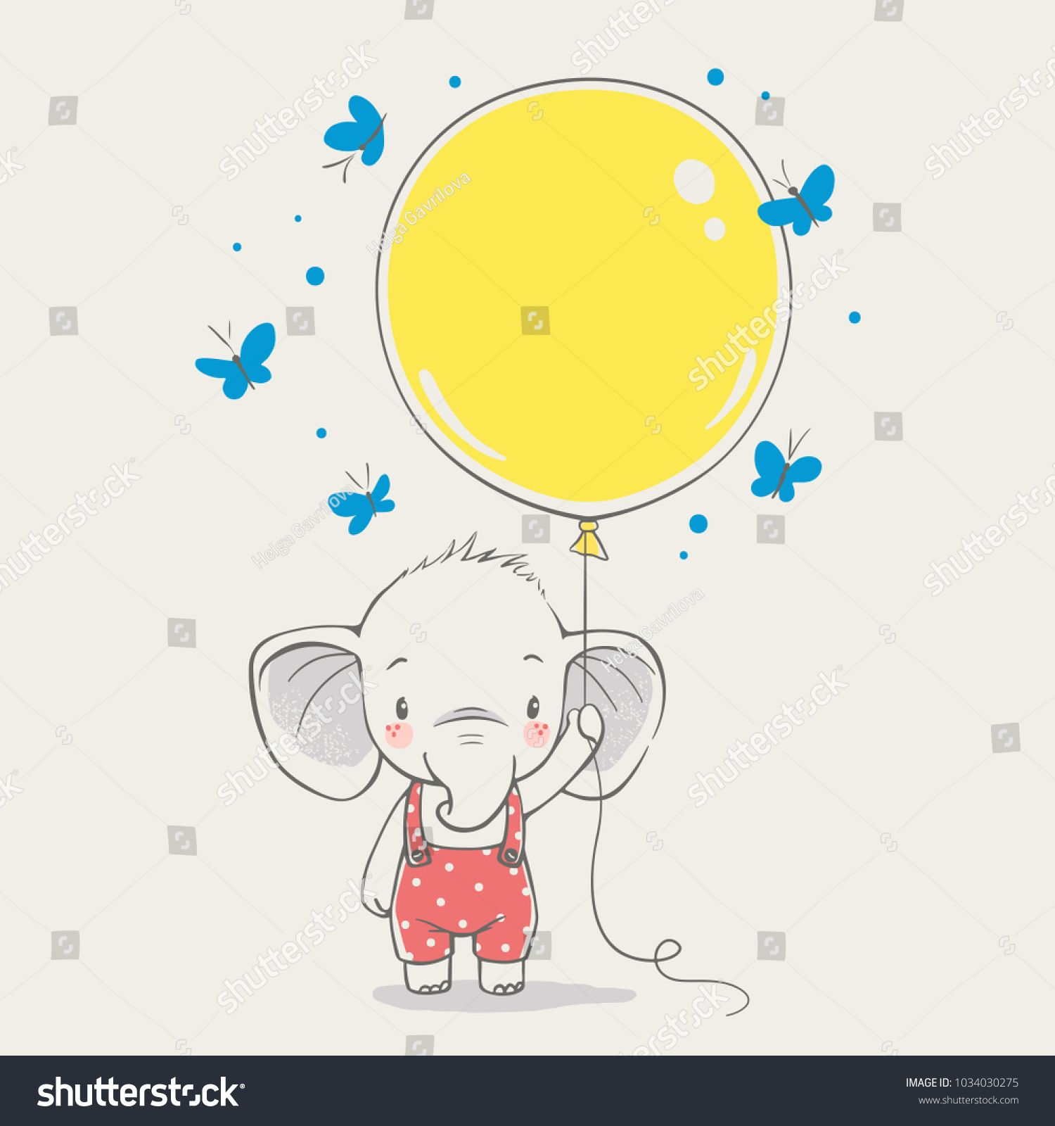 Cute Elephant With Balloon Cartoon Hand Drawn Vector Illustration Can Be Used For T Shirt Print Kids Wear Fashion Design Baby Shower I Fashion Design For Kids [ 1600 x 1500 Pixel ]
