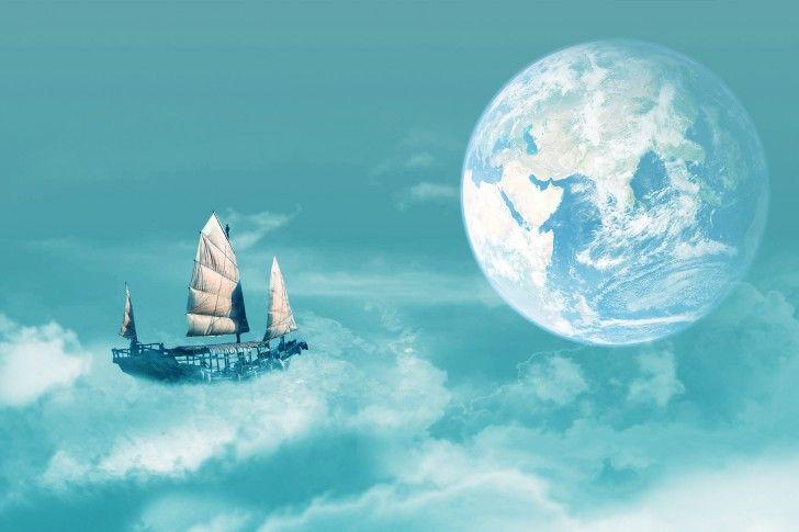 Earth, Ship, Clouds, Sailing, Sailfish, Fantasy, Other wallpapers