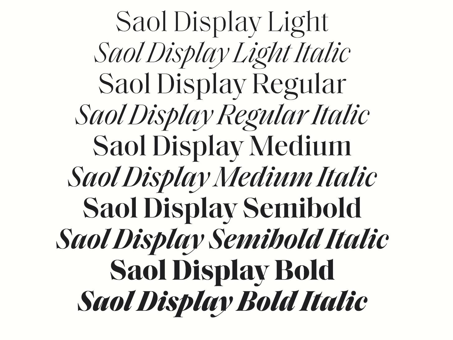 Saol Display Font Family Tipografia