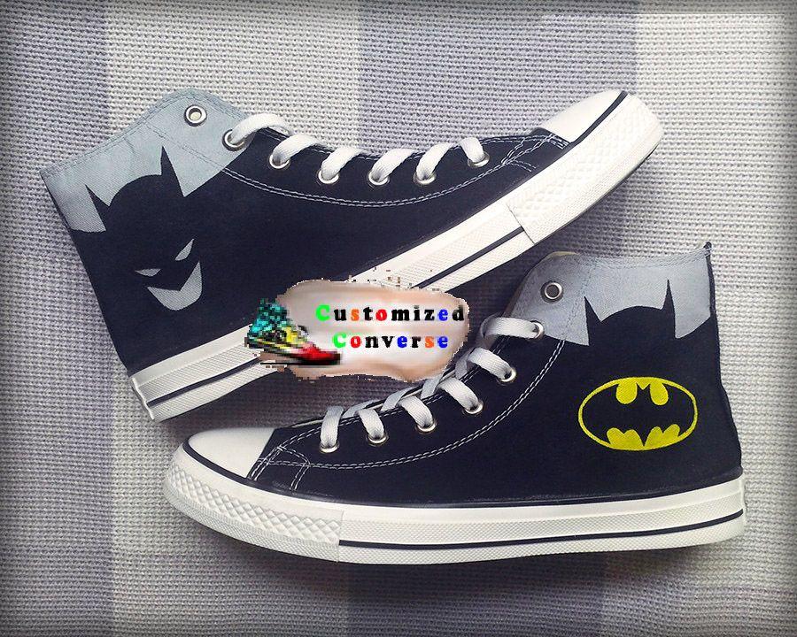 edf73e66c6f2 Batman Custom Converse Painted Shoes Batman Superman Shoes
