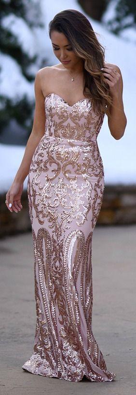Rebecca Rose Gold Strapless Sequin Maxi Dress In 2018 Dresses