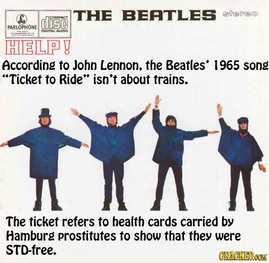 Iam A Rider Song: The Beatles Ticket To Ride ---35 Popular Songs That Don't