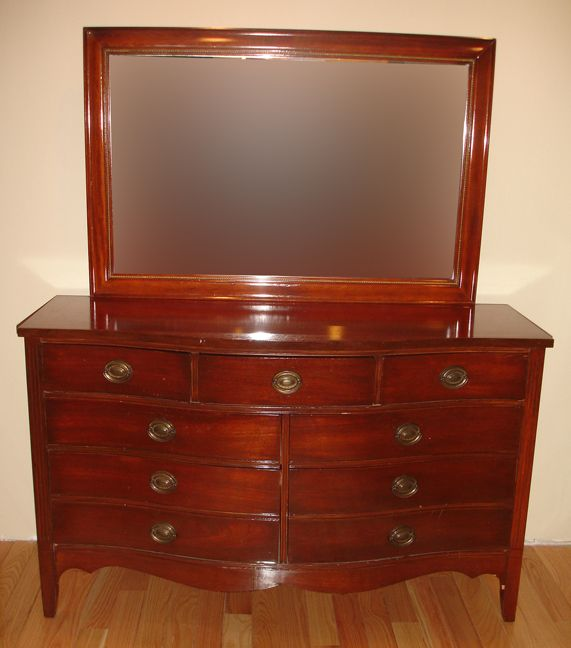 dresser - Antique Mahogany 3 Piece Matching Bedroom Set By DIXIE Furniture