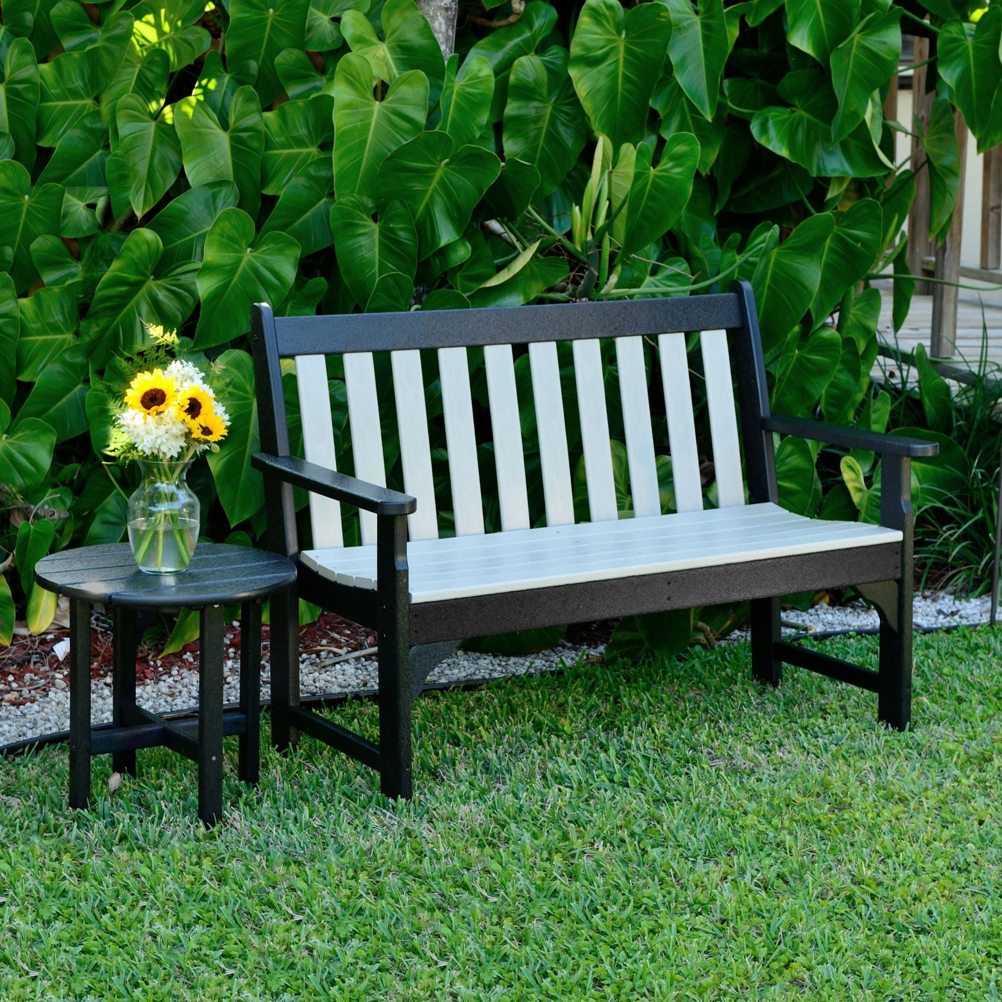 Amazing The Poly Wood Black N Sand Garden Bench Is All Weather Two Gmtry Best Dining Table And Chair Ideas Images Gmtryco