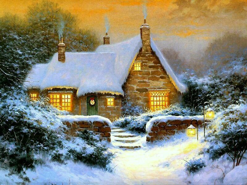 картинки домики зимние