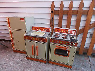 Vtg Wolverine Metal Litho Rite Hite Refrigerator Stove Amp Sink